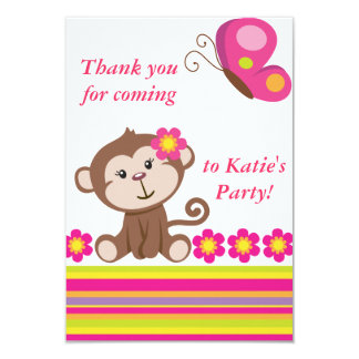 Monkey Girl (Pink) Thank You Note 9 Cm X 13 Cm Invitation Card