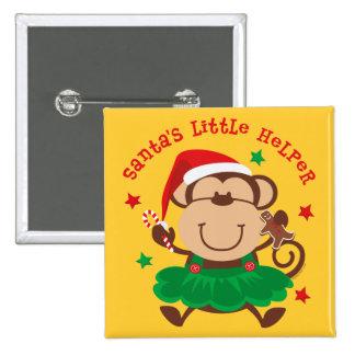 Monkey Girl Santas Helper 15 Cm Square Badge