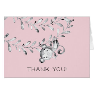 Monkey Girls Baby Shower Thank You Note Card