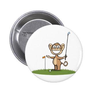 Monkey Golf 6 Cm Round Badge