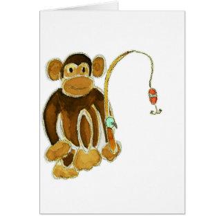 Monkey Gone Fishing Greeting Card