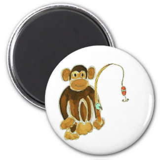 Monkey Gone Fishing 6 Cm Round Magnet