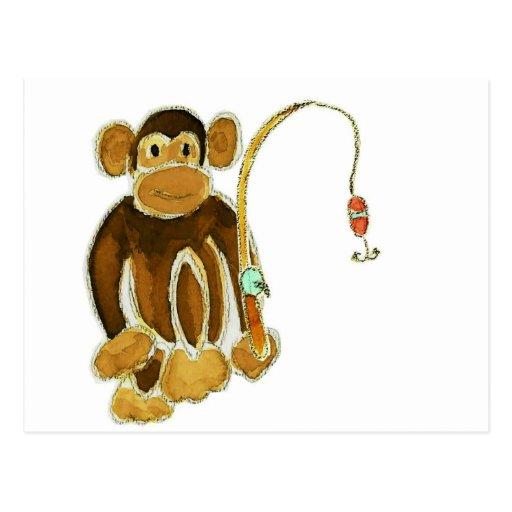 Monkey Gone Fishing Postcard
