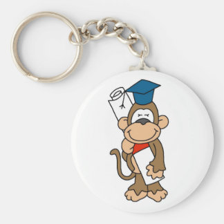 Monkey Graduate Tshirts and Gifts Basic Round Button Key Ring