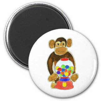 Monkey Gumball Machine 6 Cm Round Magnet