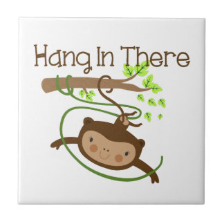 Monkey Hang in There Ceramic Tiles