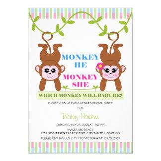Monkey He Monkey She Gender Reveal Party 13 Cm X 18 Cm Invitation Card