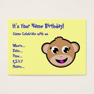 monkey head birthday invitation