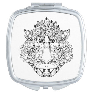 Monkey Head Doodle Compact Mirrors
