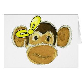 monkey head yellow bow greeting card