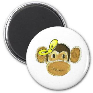 monkey head yellow bow fridge magnet