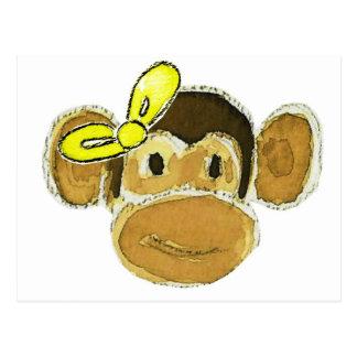 monkey head yellow bow postcard