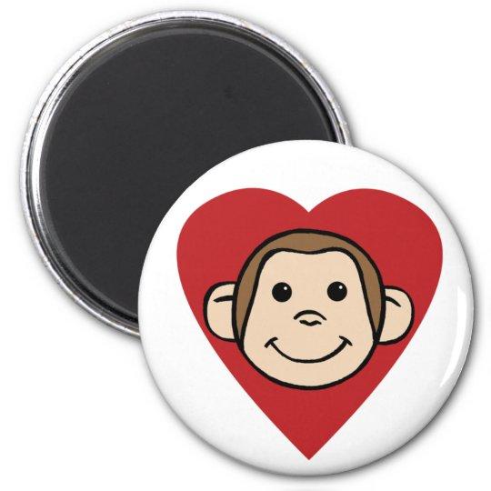 Monkey Heart 6 Cm Round Magnet