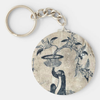 Monkey holding a potted loquat by Utamaro II,d.ca Key Chains