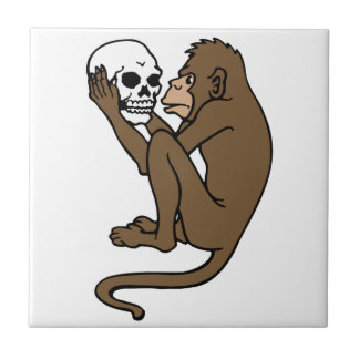 Monkey Holding A Skull Small Square Tile