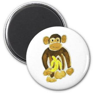 Monkey Holding Banana 6 Cm Round Magnet