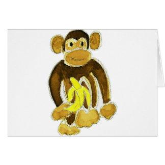 Monkey Holding Banana Greeting Card