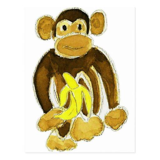 Monkey Holding Banana Post Cards