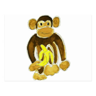 Monkey Holding Banana Postcard