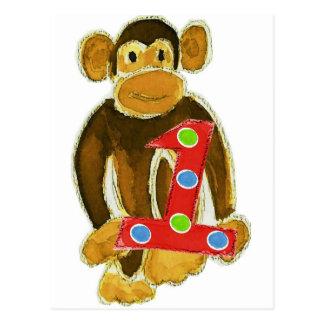 Monkey Holding One Postcard