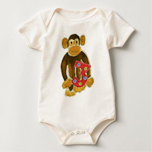 Monkey Holding Three Bodysuits