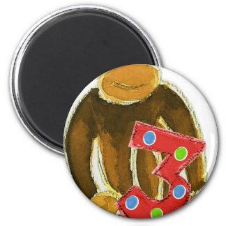 Monkey Holding Three Fridge Magnet