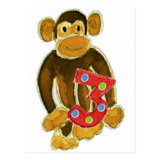 Monkey Holding Three Postcard