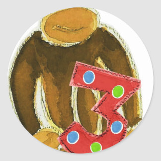 Monkey Holding Three Round Sticker