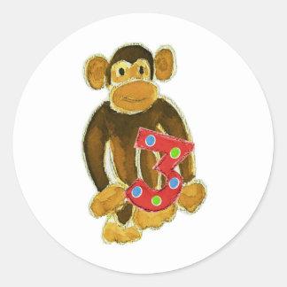 Monkey Holding Three Stickers