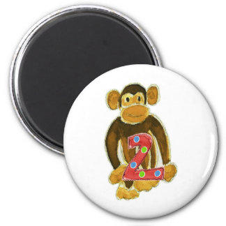 Monkey Holding Two 6 Cm Round Magnet