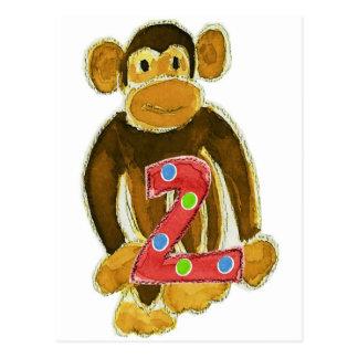 Monkey Holding Two Postcard