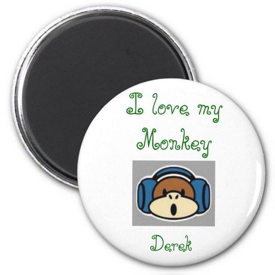 monkey, I love my Monkey , Derek 6 Cm Round Magnet
