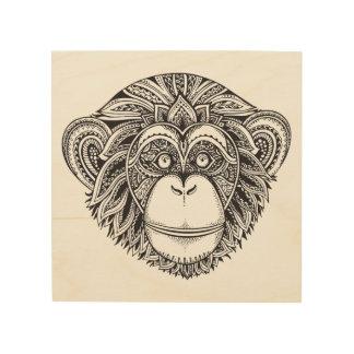 Monkey Illustartion Doodle 5 Wood Canvas
