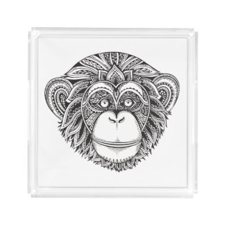 Monkey Illustartion Doodle Acrylic Tray