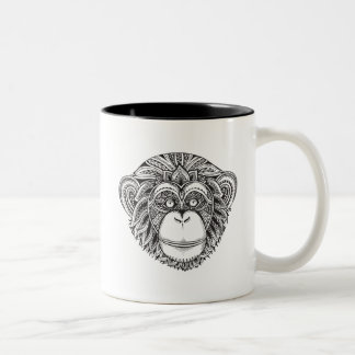 Monkey Illustartion Doodle Two-Tone Coffee Mug