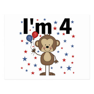 Monkey I'm 4 T-shirts and gifts Postcard