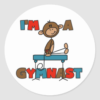 Monkey I'm a Gymnast Classic Round Sticker