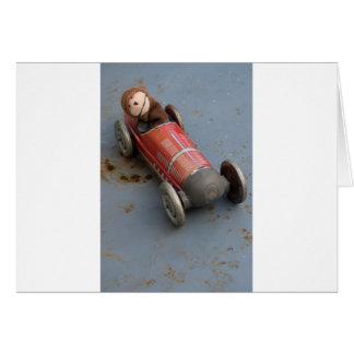 Monkey in a toy car card