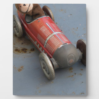 Monkey in a toy car display plaques