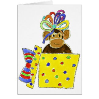 Monkey in Gift Box Greeting Cards