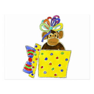Monkey in Gift Box Post Cards