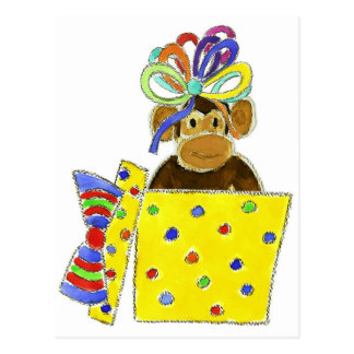 Monkey in Gift Box Postcard