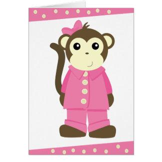 Monkey in Pajamas Greeting Card