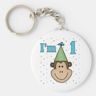 Monkey in Party Hat 1st Birthday Tshirts Basic Round Button Key Ring