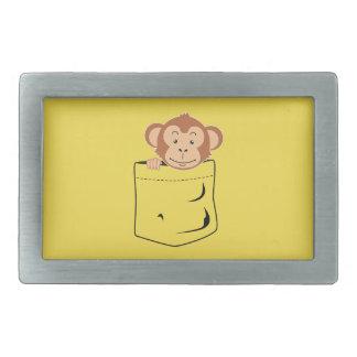 Monkey in pocket rectangular belt buckle