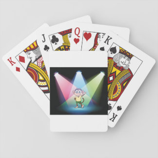 Monkey In Spotlights Playing Cards