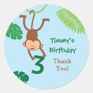 Monkey in the Jungle Third Birthday Favor Sticker