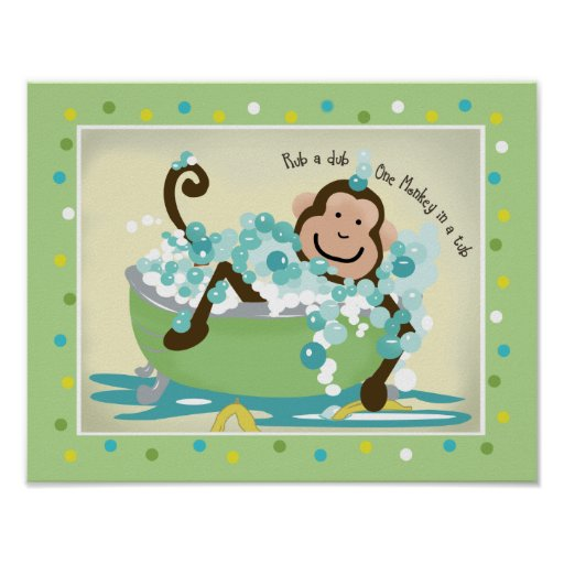 Monkey in Tub Bathroom Art Print - Dark Brown