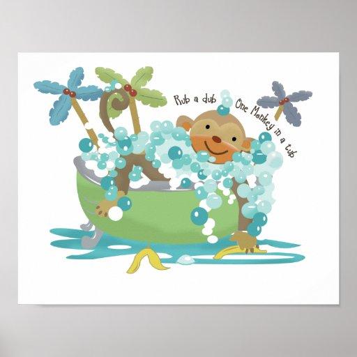 Monkey in Tub Bathroom Art Print - Dark Brown