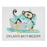 Monkey in Tub Bathroom Art Print - Personalised